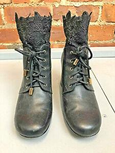 Nanette Lepore Black Lace Up Heel Ankle Boots Size 6 Lace Trim Victorian Style