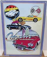 CORVETTE COLLAGE,NICE  METAL SIGN, CHEVY, ADULT, UNISEX