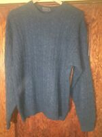 90s Burberry Cable knit Long Sleeve Blue Wool Sweater Men's Sz. Medium C15