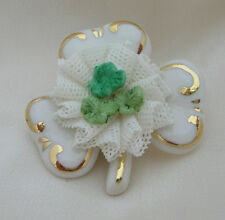 Irish Dresden White with Green Shamrock Porcelain Brooch 24K Gold Paint Accents