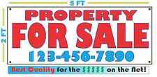 PROPERTY FOR SALE w/ Phone Banner Sign Custom Phone # Number NEW LARGER SIZE