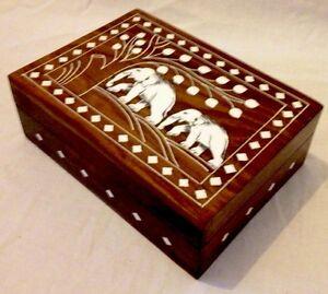 Handmade White Inlaid Elephant Jewellry Box