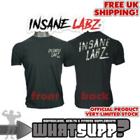 INSANE LABZ Camo Logo OFFICIAL T-SHIRT Camouflage on Black Bodybuilding top SMAL
