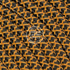 Cognac & Black Cross Stitch Cloth Covered Electrical Wire - Rayon Fabric Wire