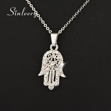 Turkey Hamsa Hand Fatima Palm Zircon Pendant Necklace 18K White Gold Plated