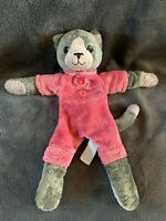 1667-Peluche doudou Chat gris rose animadoo 30 cm ANIMA Comme neuf