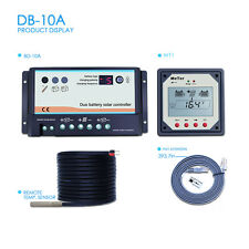 10A Dual Battery Solar Charge Controller Use RVs Caravans Bus+Remote Meter MT1