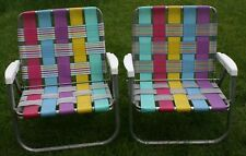 Vintage Folding Bright Colorful Stripes Aluminum Webbing Pool Beach Low Chair