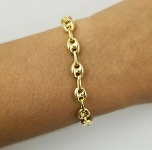 """14K Yellow Gold Over Italian 7"""" Gucci Link Chain Bracelet"""