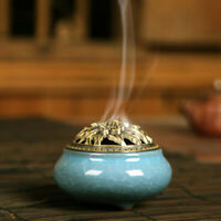Vintage Ceramic & Alloy Cover Incense Burner Censer Coil Sticks Holder