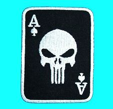 Ace of Spades PUNISHER Skull Death Cards Embroidered Iron On Patch Casino