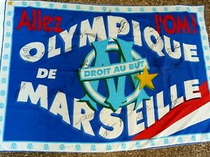 Drapeaux flag OLYMPIQUE DE MARSEILLE om signé EQUIPE 2020 - 2021 ultras foot
