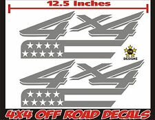 4x4 Truck Bed Decals METALLIC SILVER Set, Ford Super Duty, F-250, F-150 USA Flag