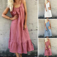 UK Womens Strap Beach Long Tunic Dress Ladies Summer Casual Loose Maxi Dresses