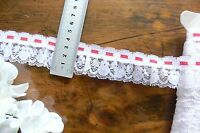 Poly Single Gather WHITE Lace with 3mm RED Thread @ Top 5 Metres 4cm Wide FRL