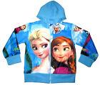 Girls FROZEN ELSA ANNA vibrant blue hooded sweatshirt jacket Size 4 Age 4-5 yrs