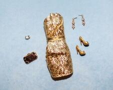 GLAMOROUS Shimmering Gold Dress BARBIE Evening Wear - w/ Heels Purse Earrings