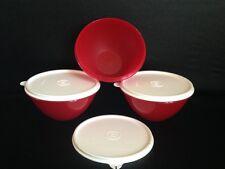Set of 3 Red Tupperware Mixing & Storage Wonderlier Bowls 2-Cup w/ Seals New