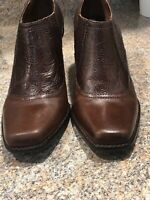Womens Antonio Melani Brown Leather Low Cowgirl Style Shoes Size 8.5 M Pre Owned