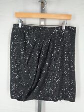 Peruvian Connection Skirt Size 10 Gray Sequin Pleated Drape Above Knee