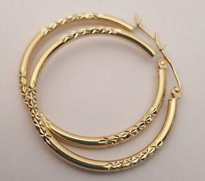 14K Real Yellow Earrings Gold Large Hoop Hoops Hollow Diamond Cut Ladies