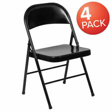 Steel Folding Chair (4-Pack) Black