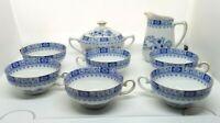 Seltmann Weiden Theresia Dorothea Bavaria Porcelain Cream Sugar Teacups Blue VTG