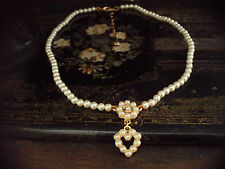 Vintage Butler & Wilson Pearl Heart Drop Necklace. Adjustable Chain