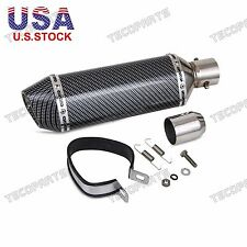 38-51mm Motorcycle GP Carbon Fiber  Exhaust Pipe Muffler Tip Removable Silencer
