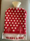 David Fussenegger Hot Water Bottle. New With Tags. Red/Off White Merry X-Mas