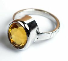 Citrine Gemstone Ring 925 Unisex Sterling Silver Oval Brazilian Ring Size 5-10
