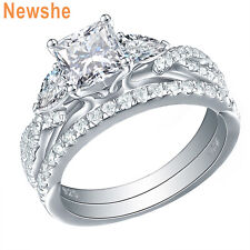 3 Stone 925 Sterling Silver Aaa Cz Newshe Wedding Engagement Ring Set For Women
