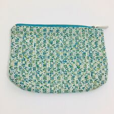Ann Taylor Purse Small Turquoise Tweed Zipper Wallet Cosmetic Bag Makeup Case