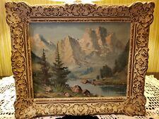 Vintage oil on canvas mystery Artist signed beautifully framed alpine scene