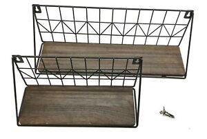 Mkono Floating Wall Mounted Rustic Brown Small/Medium Shelf Set JJBGTJ006 NOS