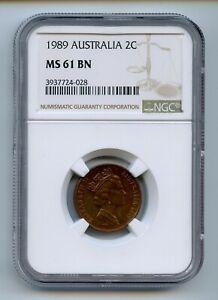 AUSTRALIA 1989 2 cents KM# 79 NGC MS61 BN -GAJ