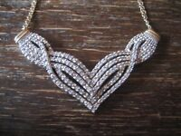 edles Vintage Modernist Diamantcollier Collier 2 ct Diamanten 925er Silber gold