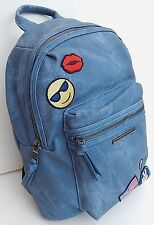 STEVE MADDEN PVC BLUE DENIM PATCHES BACKPACK 100% AUTHENTIC NEW