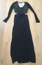 BLACK & BEIEGE LONG SLEEVE MAXI CUT-OUT DRESS SZ. S