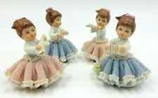 SET OF 4 VINTAGE GERMAN DRESDEN LACE PORCELAIN SANDIZELL LITTLE GIRL MUSICIANS