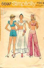 Vtg 1973 Simplicity Sewing Pattern # 5697 Midriff-Top Skirt Pants Short Shorts