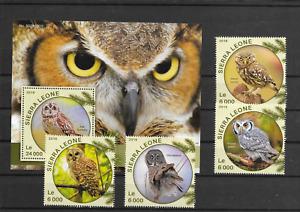 BIRDS @  Good  OWLS 2016 Sierra Leone  MNH- Low start @pce2240