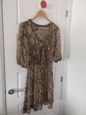 Next Womens Animal Print Sheer 3/4 Sleeve Coverup Dress  Size 12