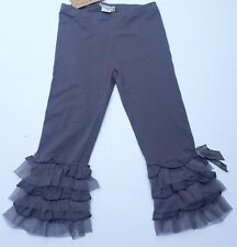 NEW Effie's Heart Gray Pewter Cabaret Leggings Cropped Pants Lace Bow S