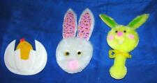 3 VTG EASTER CRAFT APPLIQUES, LAYERED PADDED FABRIC & CHENILLE, BUNNIES, CHICK