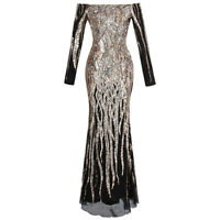 Angel-fashions Women's Boat Neck Long Sleeve Sequins Flapper Ball Gown 404