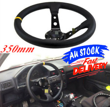 350mm Steering Wheel Deep Dish Suede Drift Rally Racing Yellow Stitching AU