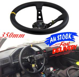 350mm Steering Wheel Deep Dish Suede Drift Rally Racing Yellow Stitching AU