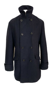 Mens Primark Blue / Black Fleck Double Breasted Wool Mix Overcoat Size: Large