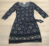 Stunning STUDIO M  Navy Black White Patterned Tie Dress Large 14 16